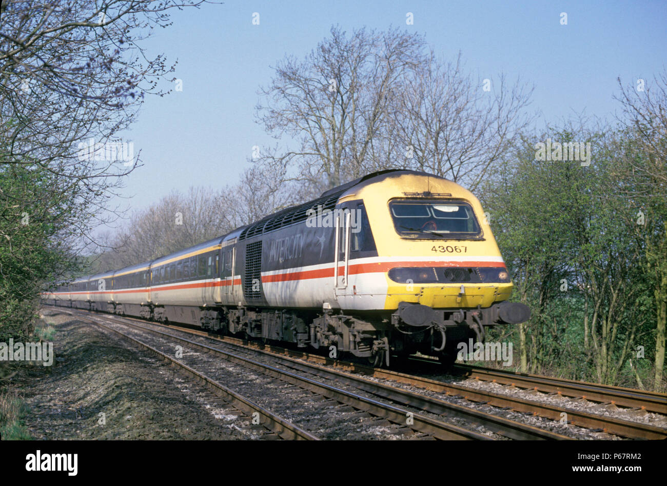 One of only eight Class 43 HST power cars fitted with buffers to make them compatible with Class 91 power cars on the East Coast Main Line C 1993 - Stock Image