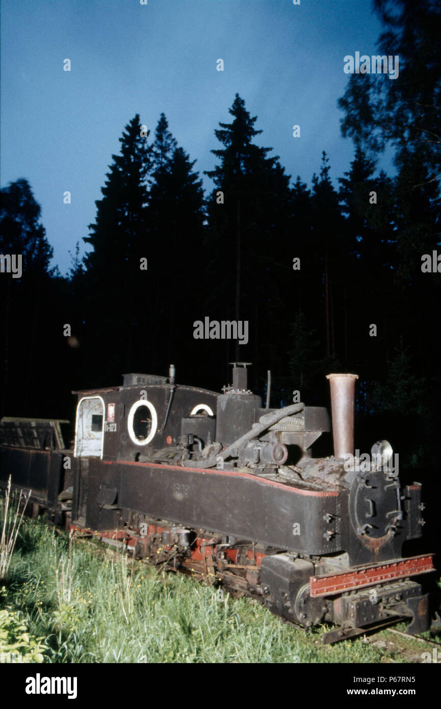 One of the classic 600mm gauge German Feldbahns lies abandoned at Hajnowka in north eastern Poland close to the Russian border on Tuesday 24th May 198 - Stock Image