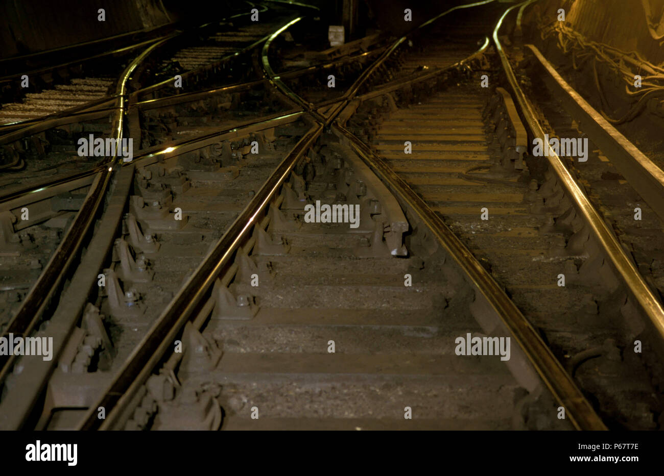 Railway tracks in London Underground tunnel. C 1993. - Stock Image