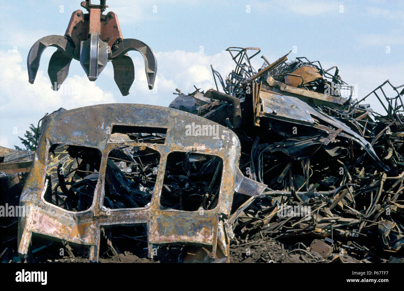 Scrapped DMUs after cutting up at Mayer Newman's breakers yard near Ipswich. C 1993 - Stock Image