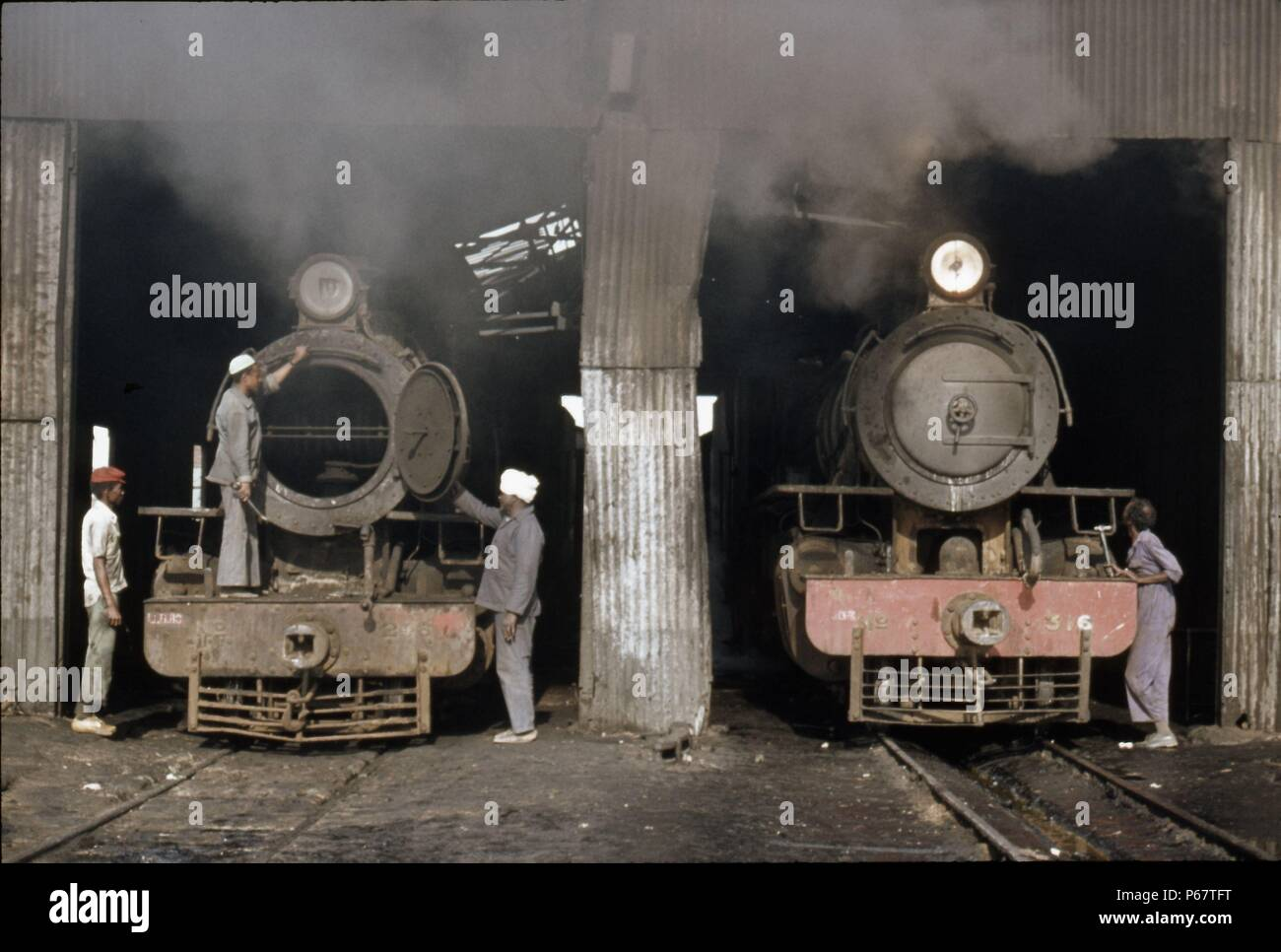 Sennar Junction depot in the Sudan with Mikado No. 316 in steam and Pacific No. 246 dead. Sunday 9th January 1983. - Stock Image