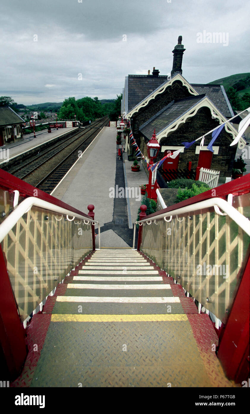 Settle Station beautifully restored on the Settle to Carlisle line. - Stock Image