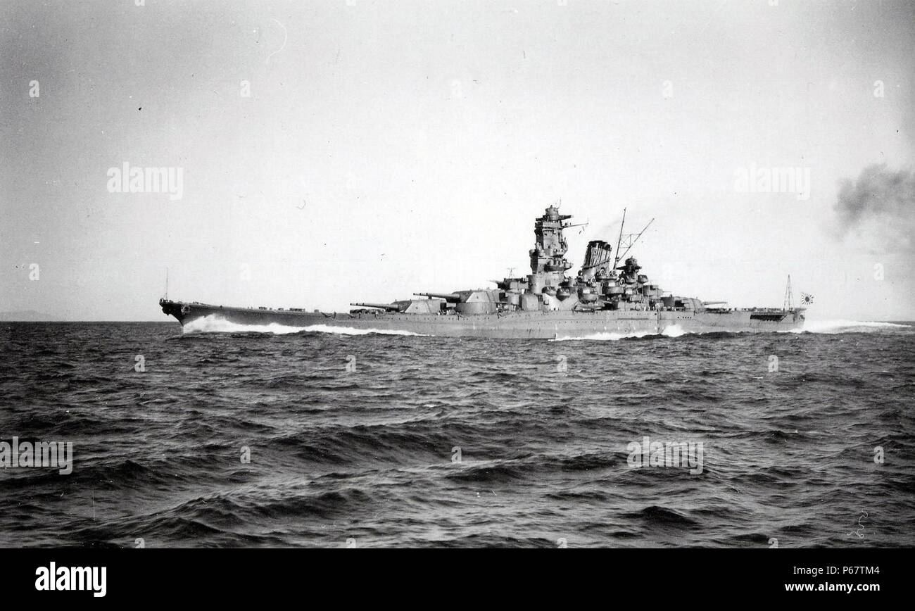 Photograph of the IJN Yamato the lead ship of the Yamato class of battleships that served with the Imperial Japanese Navy during World War II. Dated 1941 - Stock Image