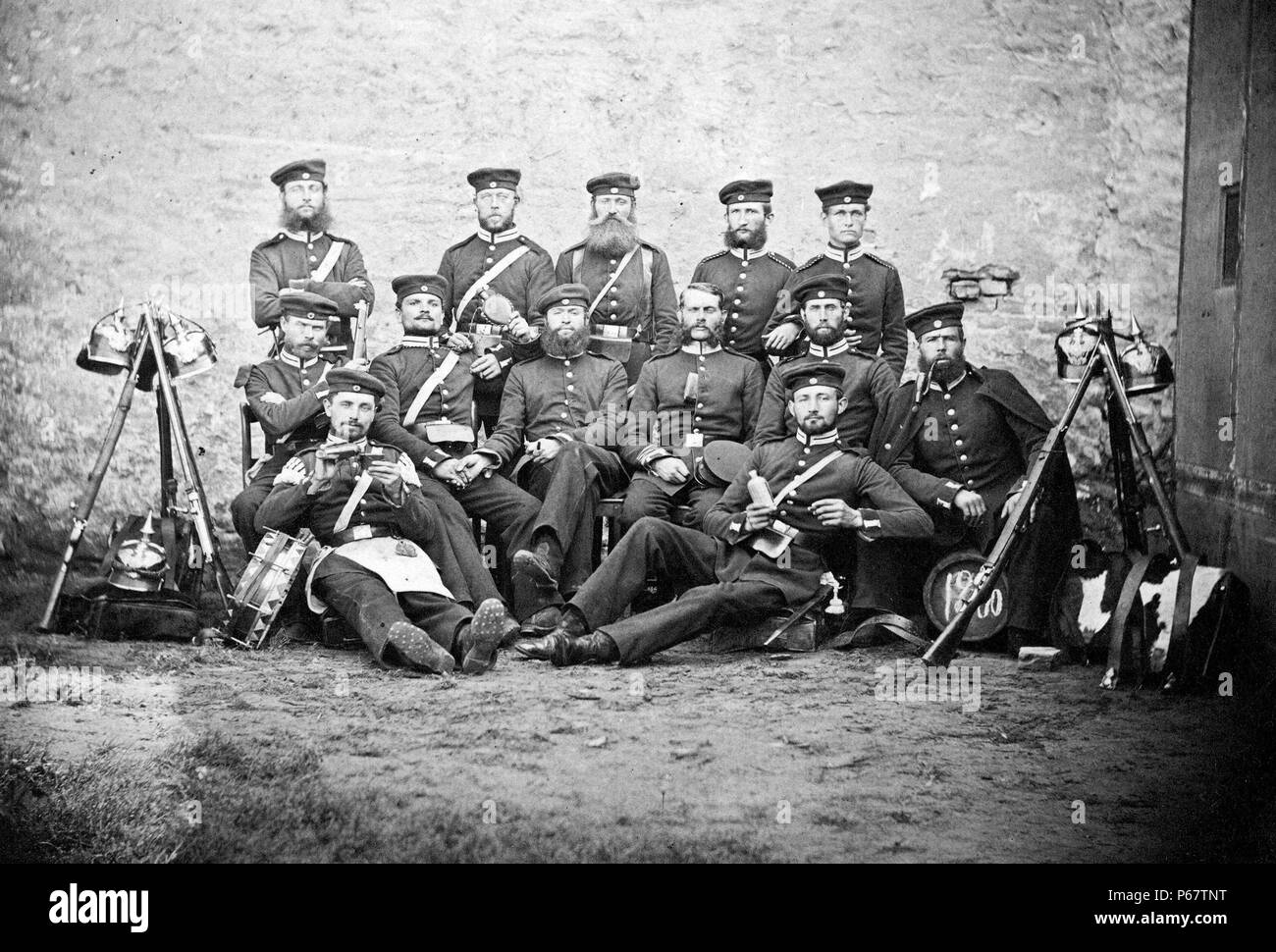 Prussian soldiers photographed during the Austro-Prussian war of 1866. - Stock Image