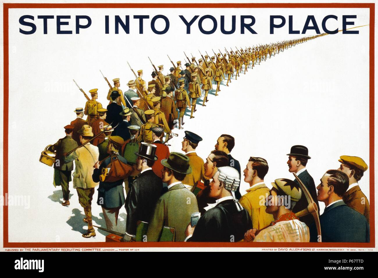 English propaganda poster from the First World War showing a column of soldiers and civilians marching to war. Text reads 'Step into your place'. Stock Photo