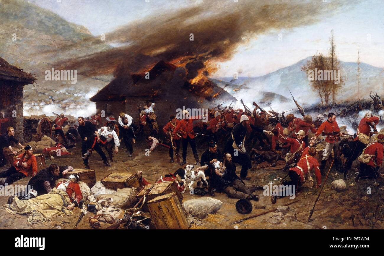 The Battle of Rorke's Drift, during the Anglo-Zulu War. The defence of the mission station of Rorke's Drift, under the command of Lieutenant John Chard followed the British Army's defeat at the Battle of Isandlwana; 22 January 1879, and continued into the following day, 23 January. Just over 150 British and colonial troops successfully defended the garrison against an intense assault by 3,000 to 4,000 Zulu warriors. - Stock Image