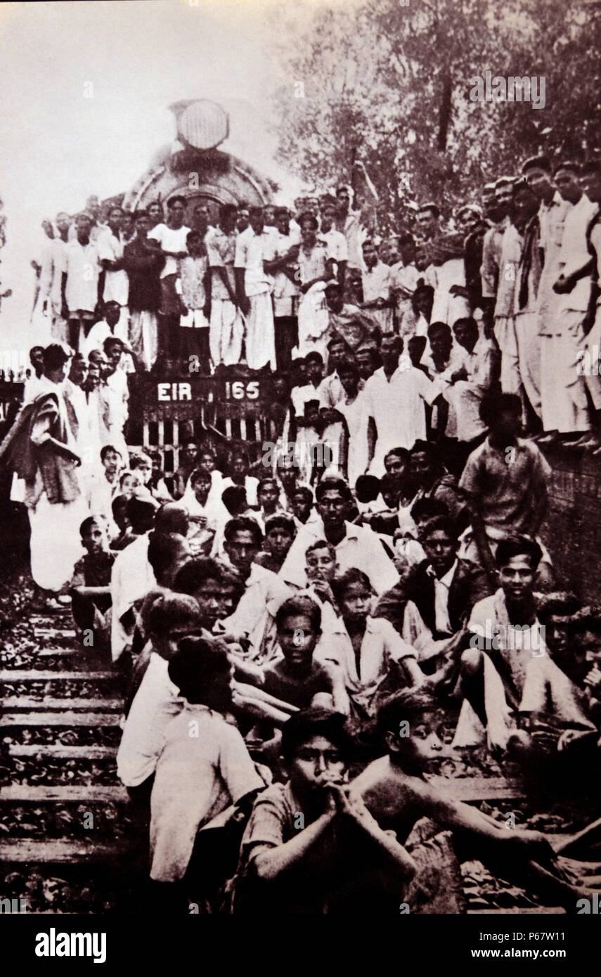 Indian civil disobedience campaign, blockading rail traffic in India 1945. Typically defined as being nonviolent resistance, Mahatma Gandi encouraged civil disobedience during the Indian Independence Movement. - Stock Image