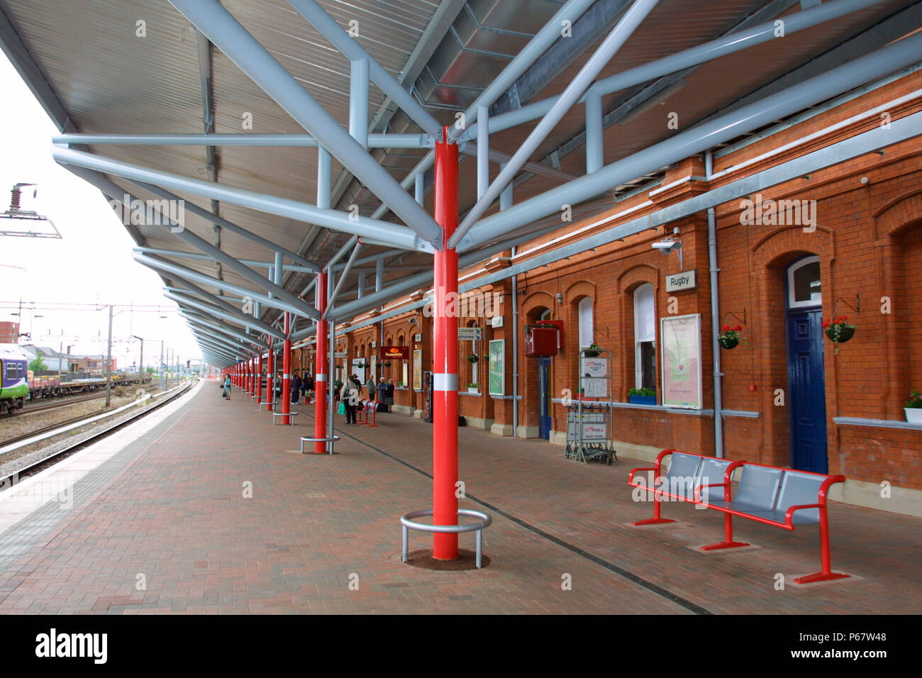 The canopies at Rugby station. 2004. - Stock Image