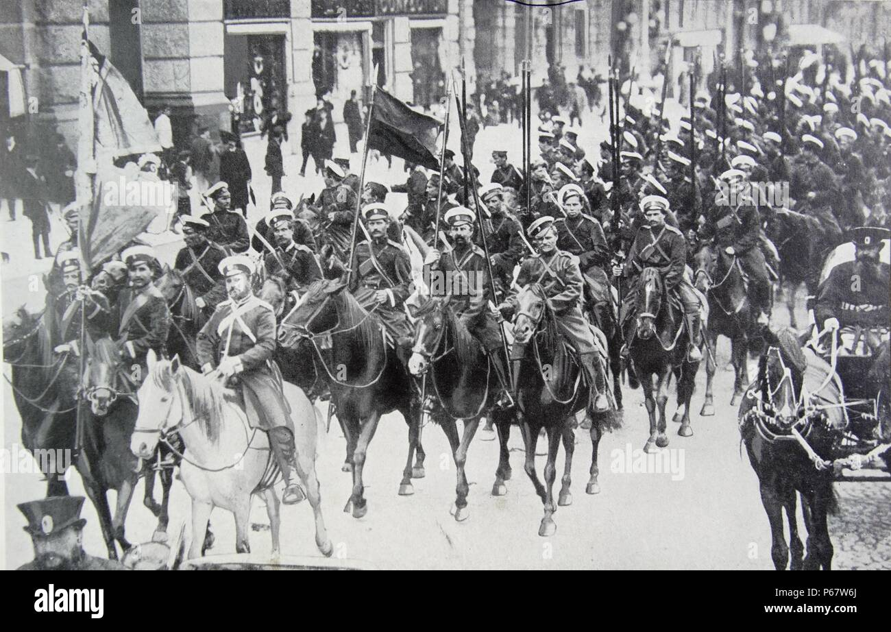 Russian Cavalry in St Petersburg in 1914 during world war one - Stock Image