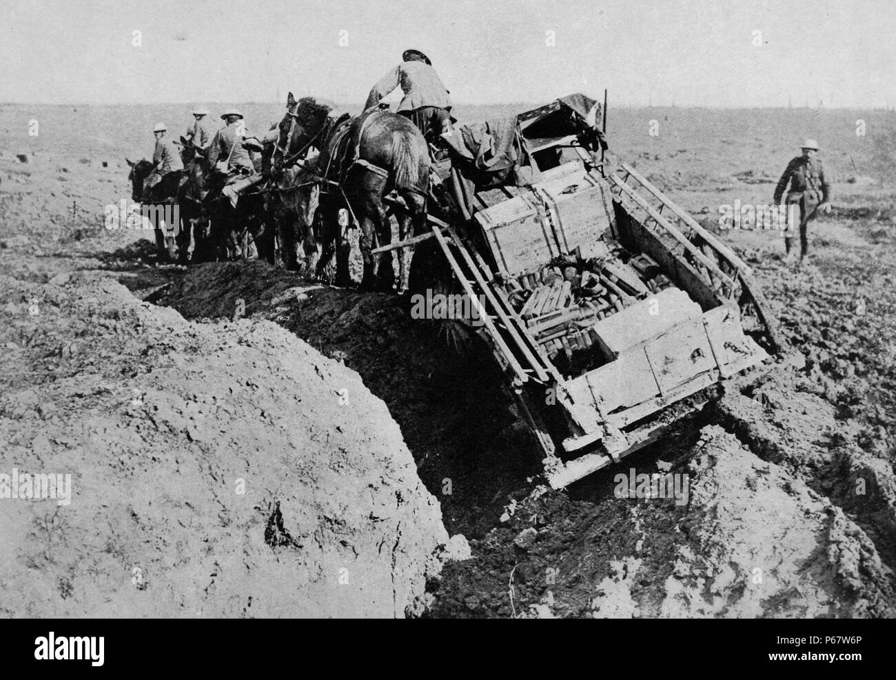 British army supplies are taken with great difficulty over the muddy fields of Flanders in Belgium in 1915, during world war one. Flanders (and Belgium as a whole) saw some of the greatest loss of life on the Western Front of the First World War, in particular from the three battles of Ypres. Due to the hundreds of thousands of casualties at Ypres - Stock Image