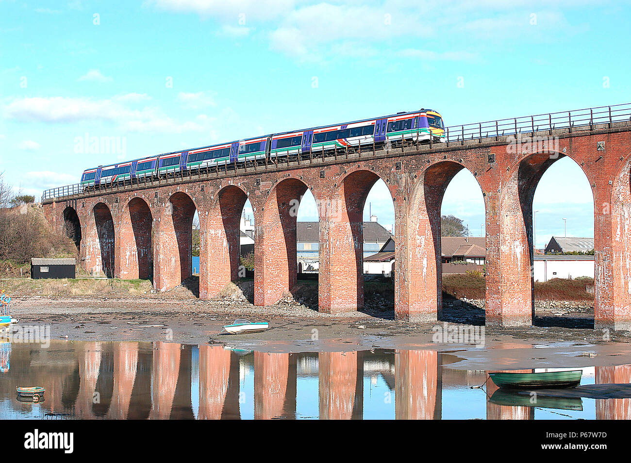 The ECML between Edinburgh and Aberdeen follows the North Sea coastline very closely and sometimes has to cross the bays and inlets such as at Montros - Stock Image