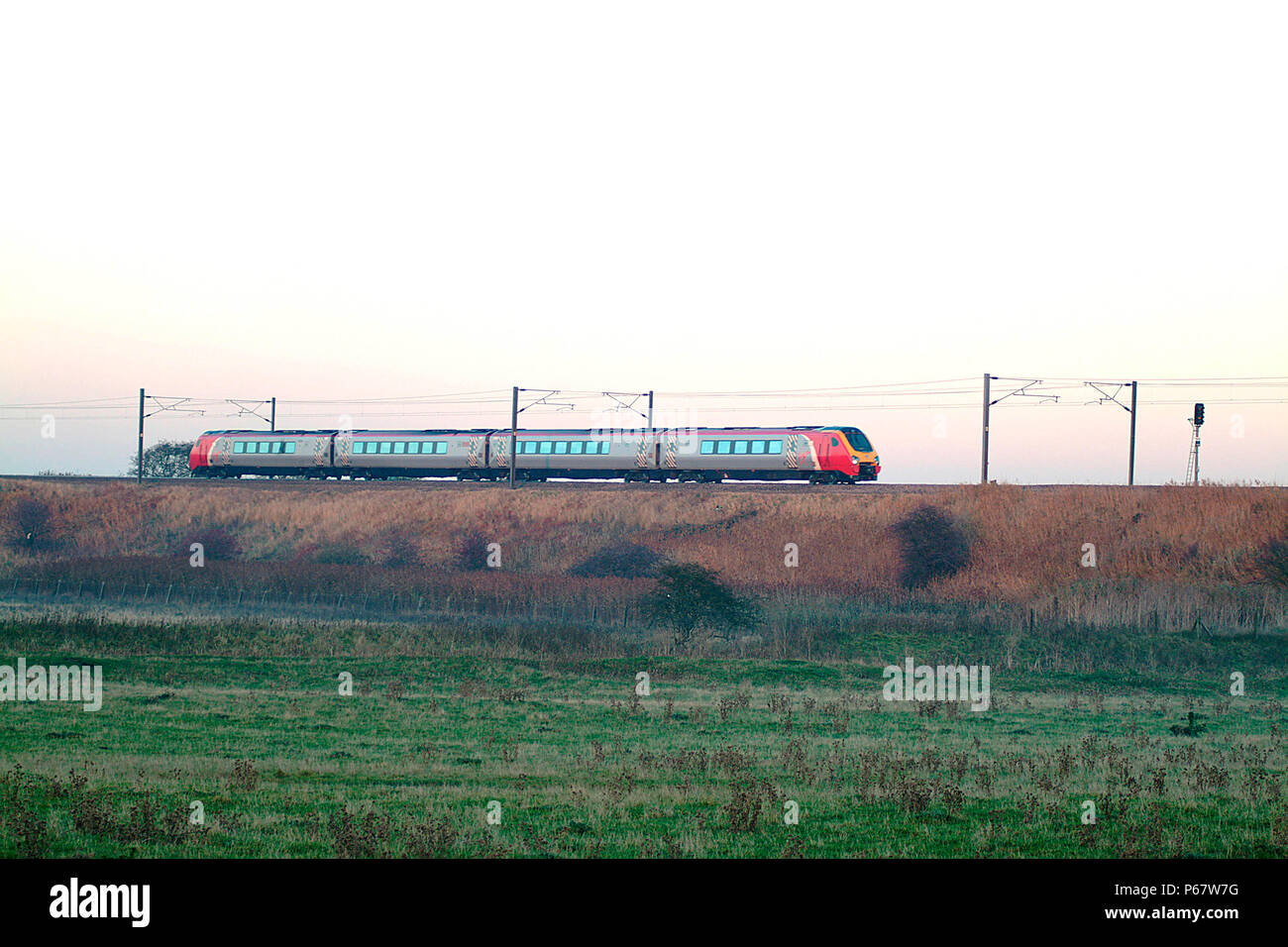 The ECML is also used by many CrossCountry services including this Voyager seen speeding through Sedgefield with a southbound train. November 2003. - Stock Image