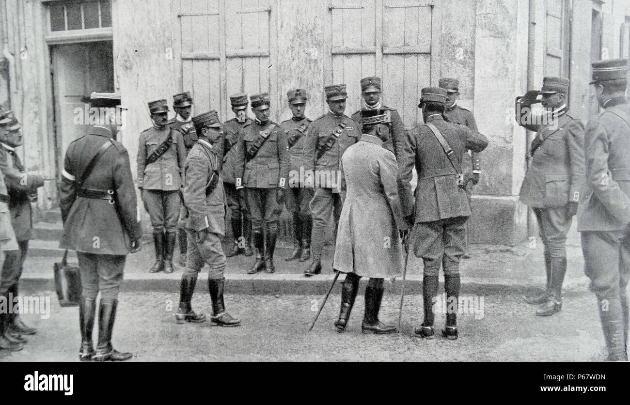 meeting between Italian and French generals during world war one - Stock Image