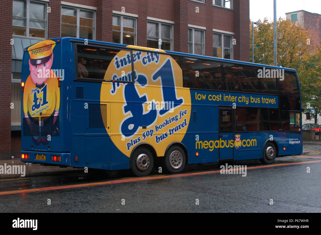 The Manchester - London Megabus stands at the Charlton St stop awaiting departure from Manchester. October 2004. - Stock Image
