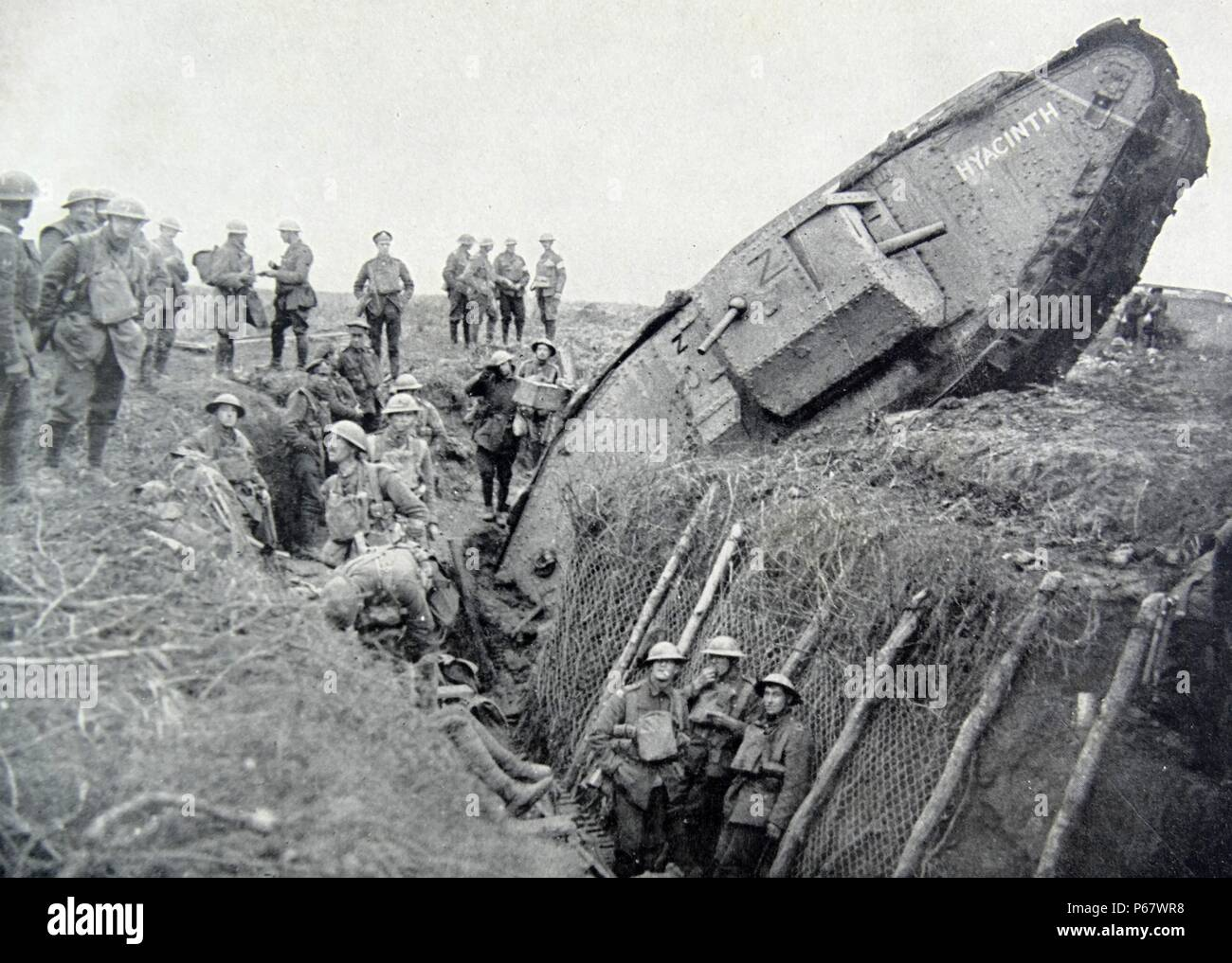 First World War, German Mark IV tank 'Hyacinth' stuck in a trench to the west of Ribecourt. November 20, 1917 - Stock Image