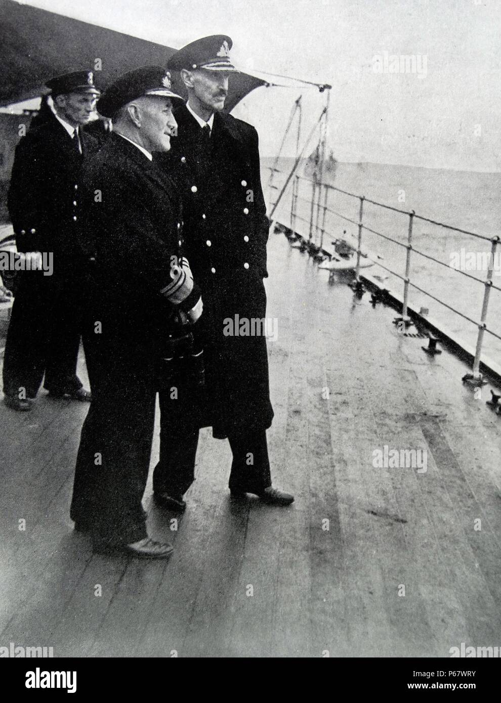 King Haakon VII and the Royal Family of Norway return on the HMS Norfolk after the liberation of Norway after World War Two - Stock Image