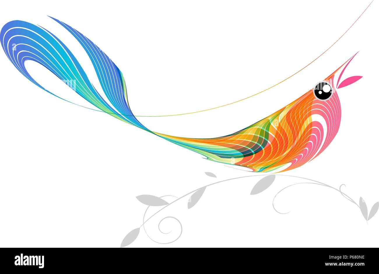 Singing bird, vector illustration - Stock Vector