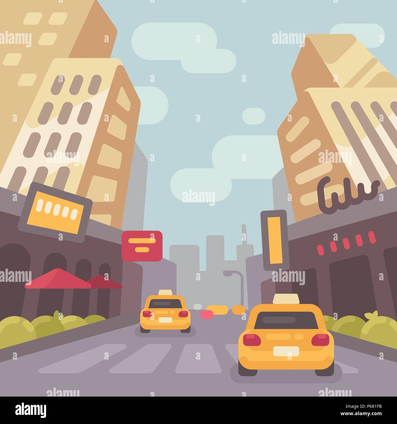 Modern city street with taxi cars and skyscrapers low perspective view. Vintage travel poster flat illustration - Stock Vector