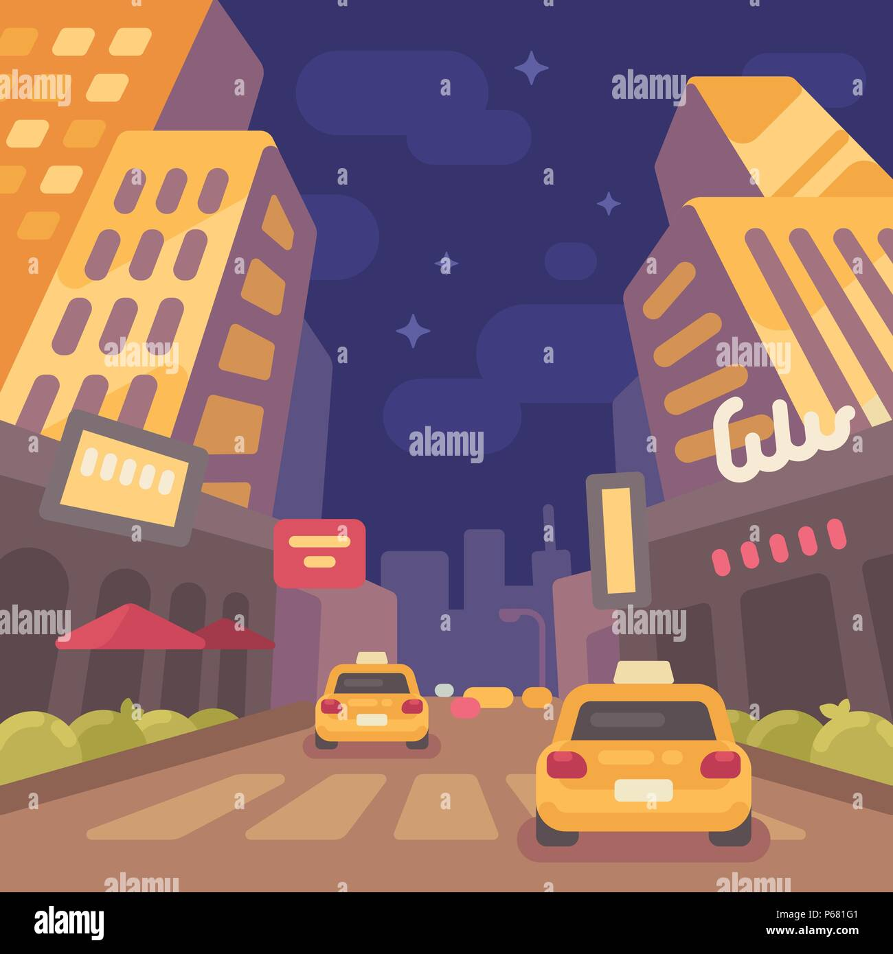 Night modern city street with taxi cars low perspective view. Vintage travel poster flat illustration - Stock Vector