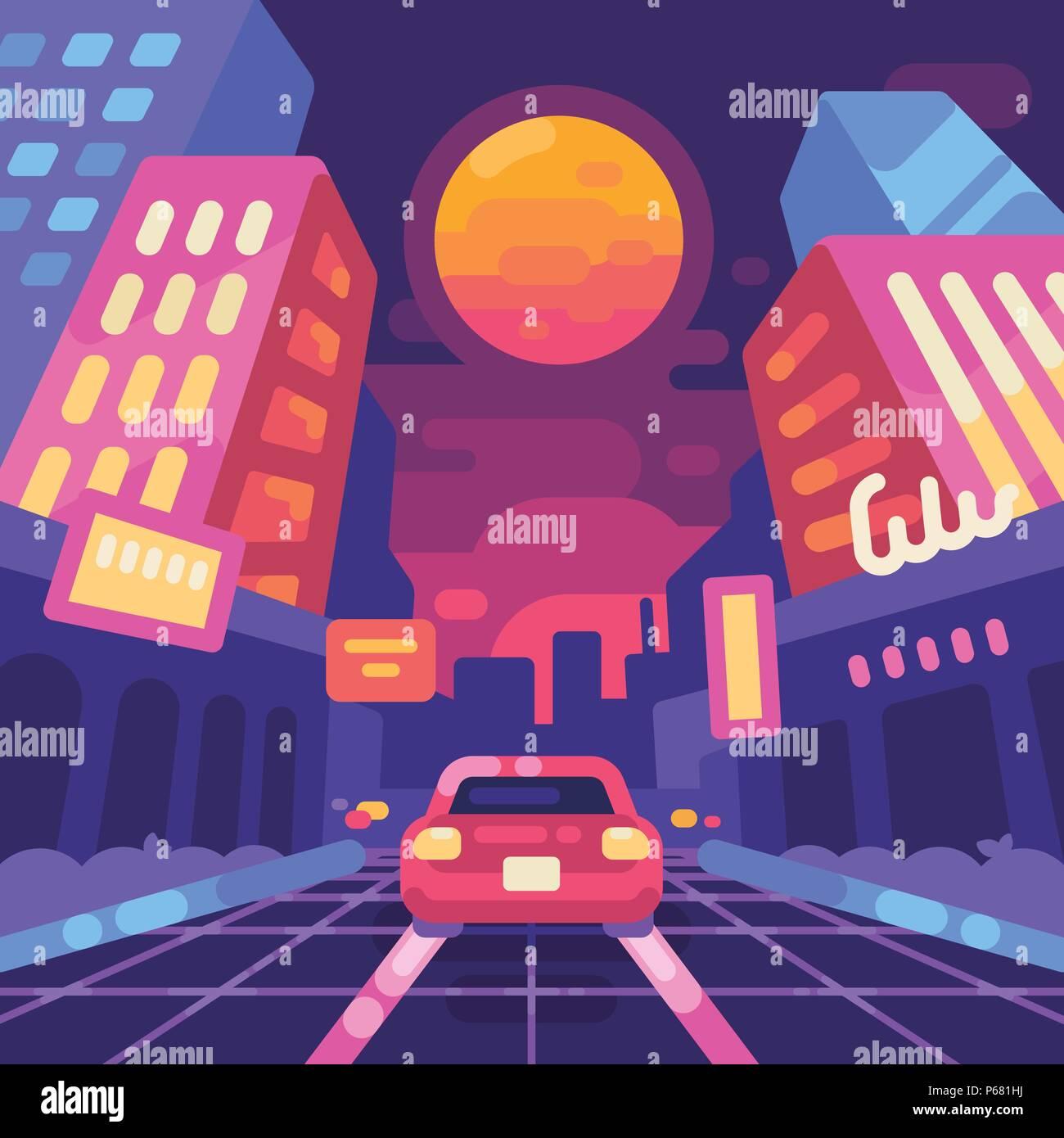 Night neon city street 1980s style flat illustration  New