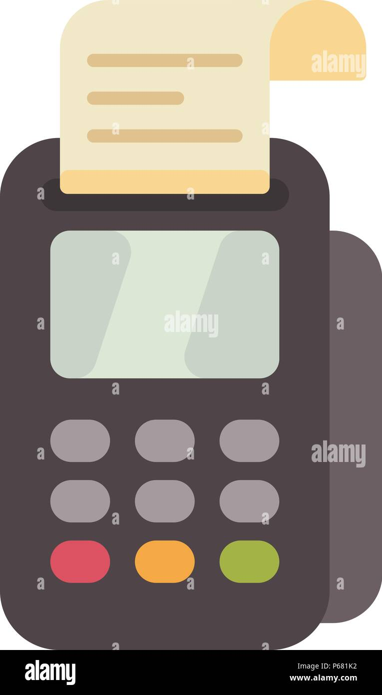 Payment terminal flat icon. Credit card reader with a receipt flat illustration Stock Vector