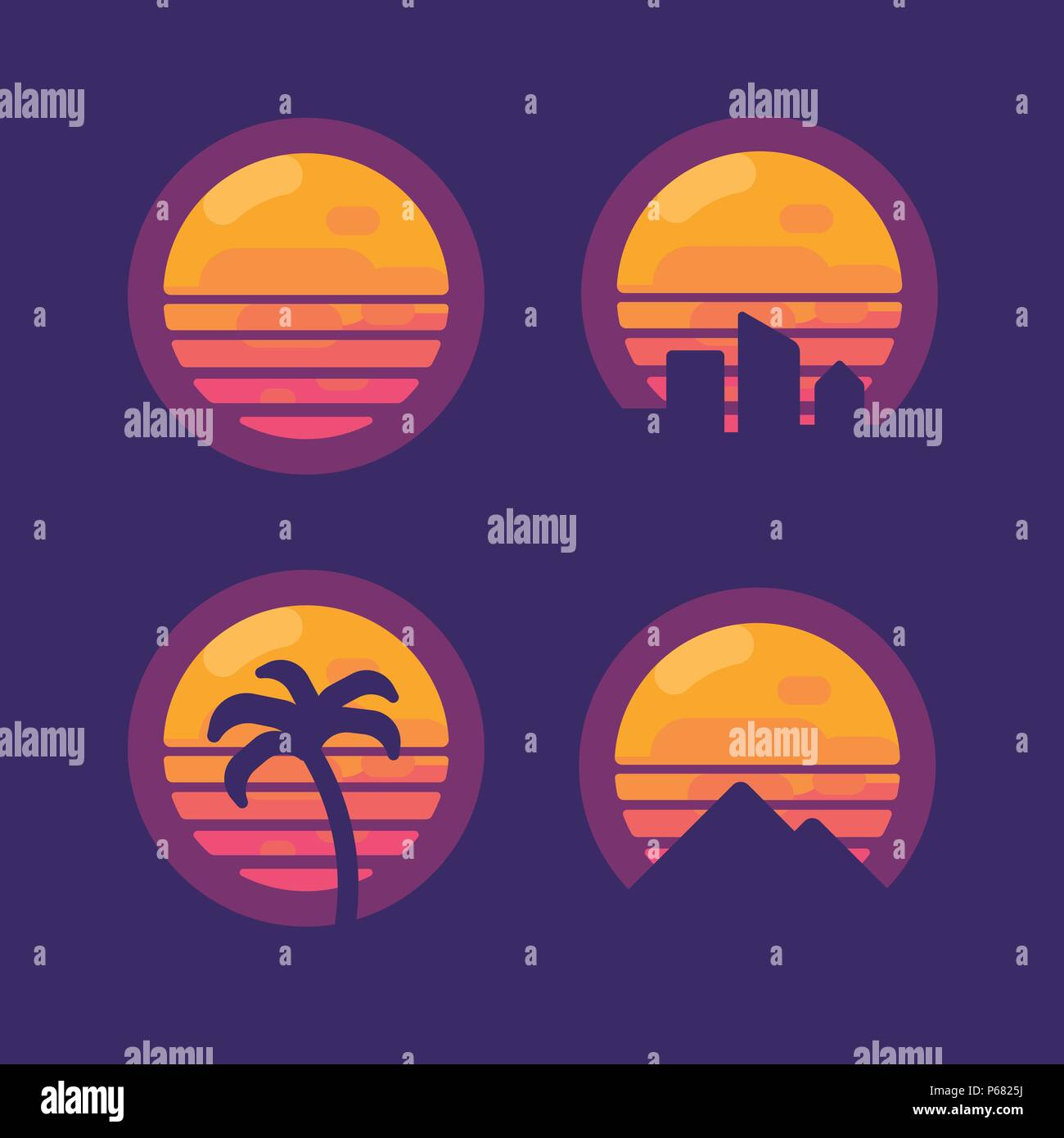 Set of retro 80 synthwave music flat icons.  New retro wave flat illustration - Stock Vector