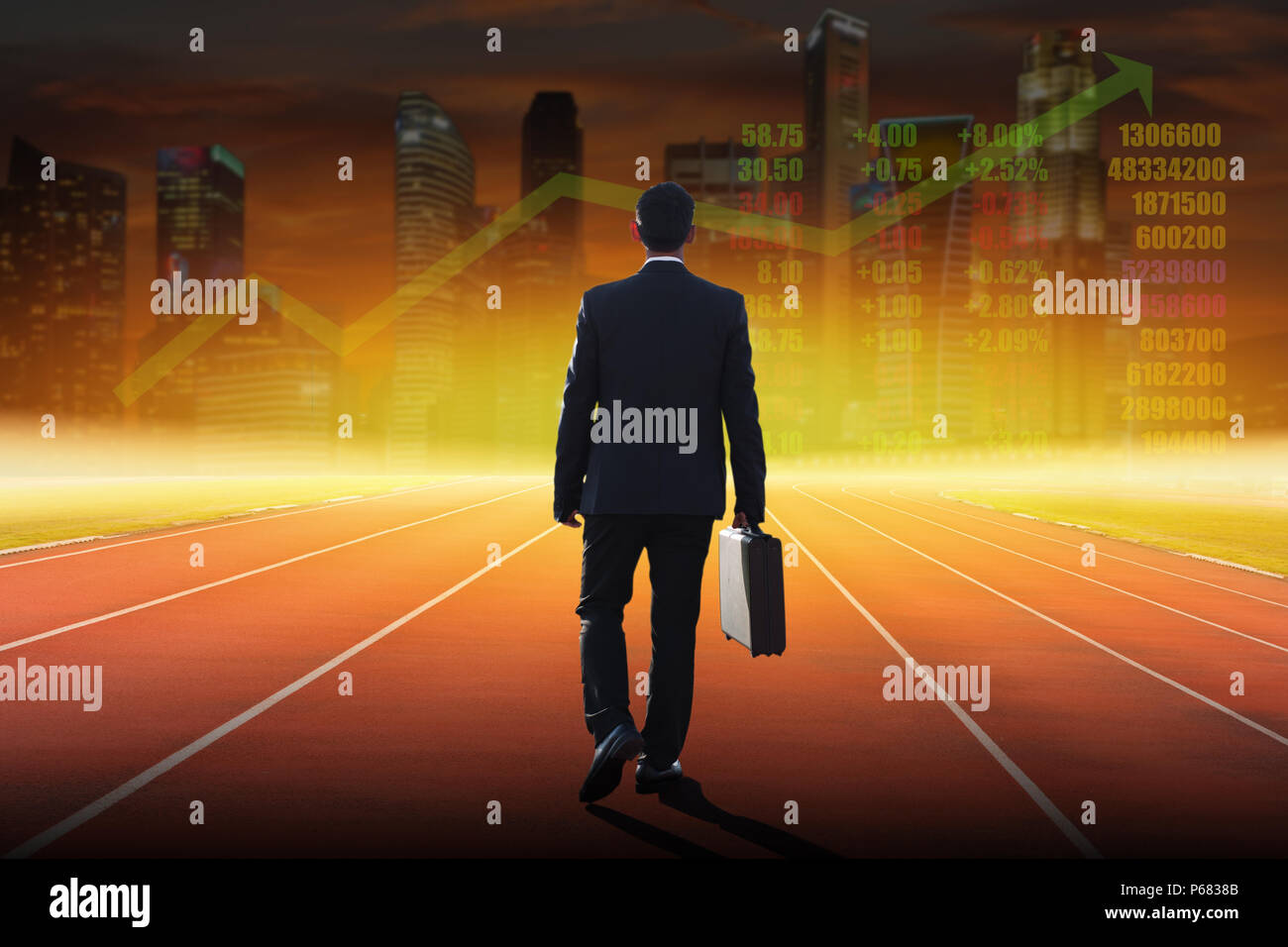 businessman walking on a track ready for race and technical stock