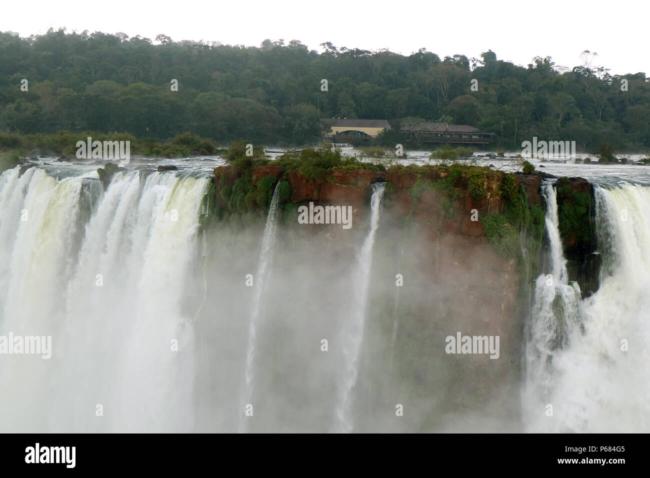 The powerful Devil's Throat of Iguazu Falls at Argentinian side, Misiones province, Argentina - Stock Image