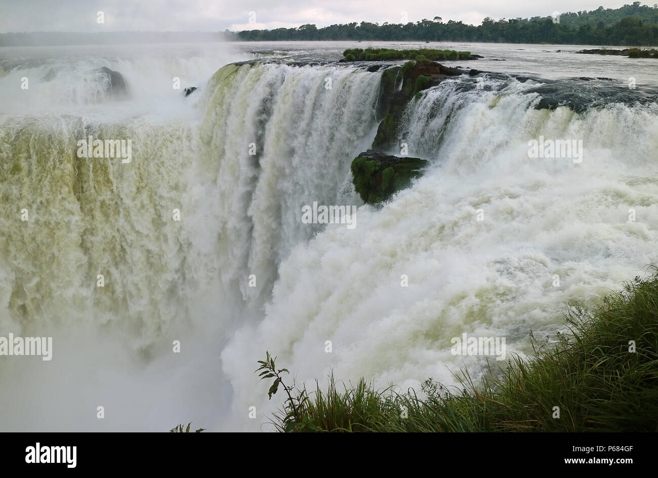 Awesome view of the Devil's Throat area of Iguazu Falls at Argentinian side, Misiones province, Argentina, South America - Stock Image