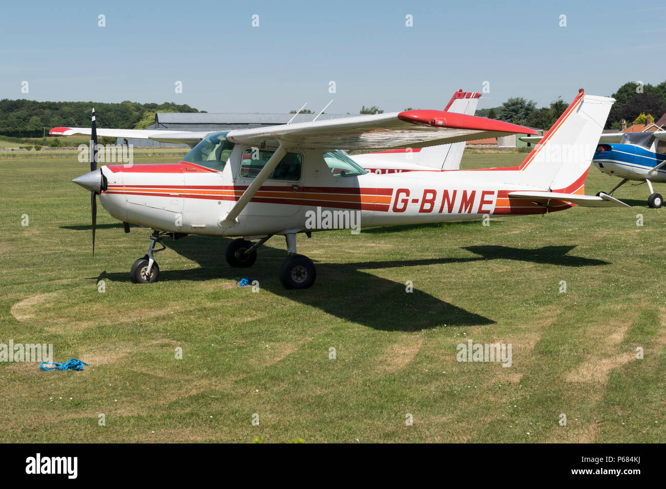 Cessna 152 G-BNME on the ground at Netherthorpe  airfield, Sheffield Aero Club - Stock Image