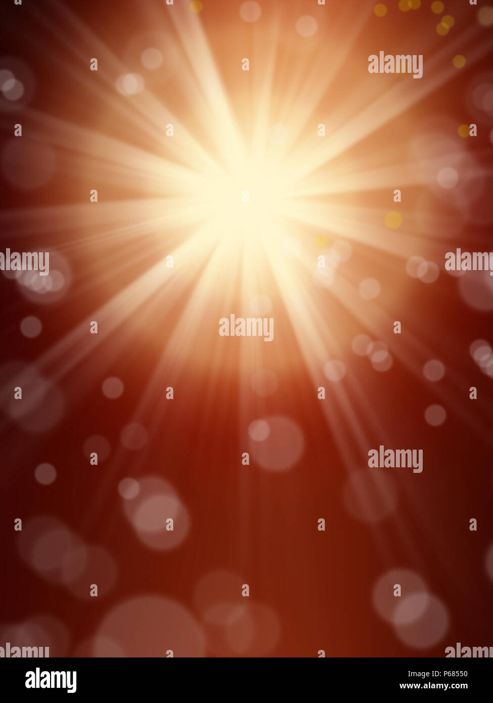background image of defocused abstract lights and beam of light over red background - Stock Image