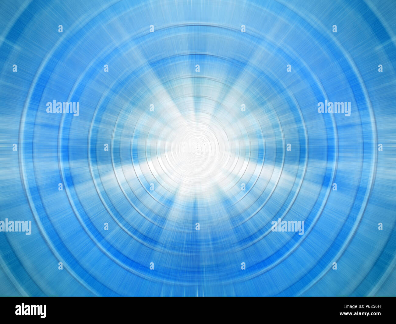 background image of defocused abstract lights and beam of light over blue background - Stock Image