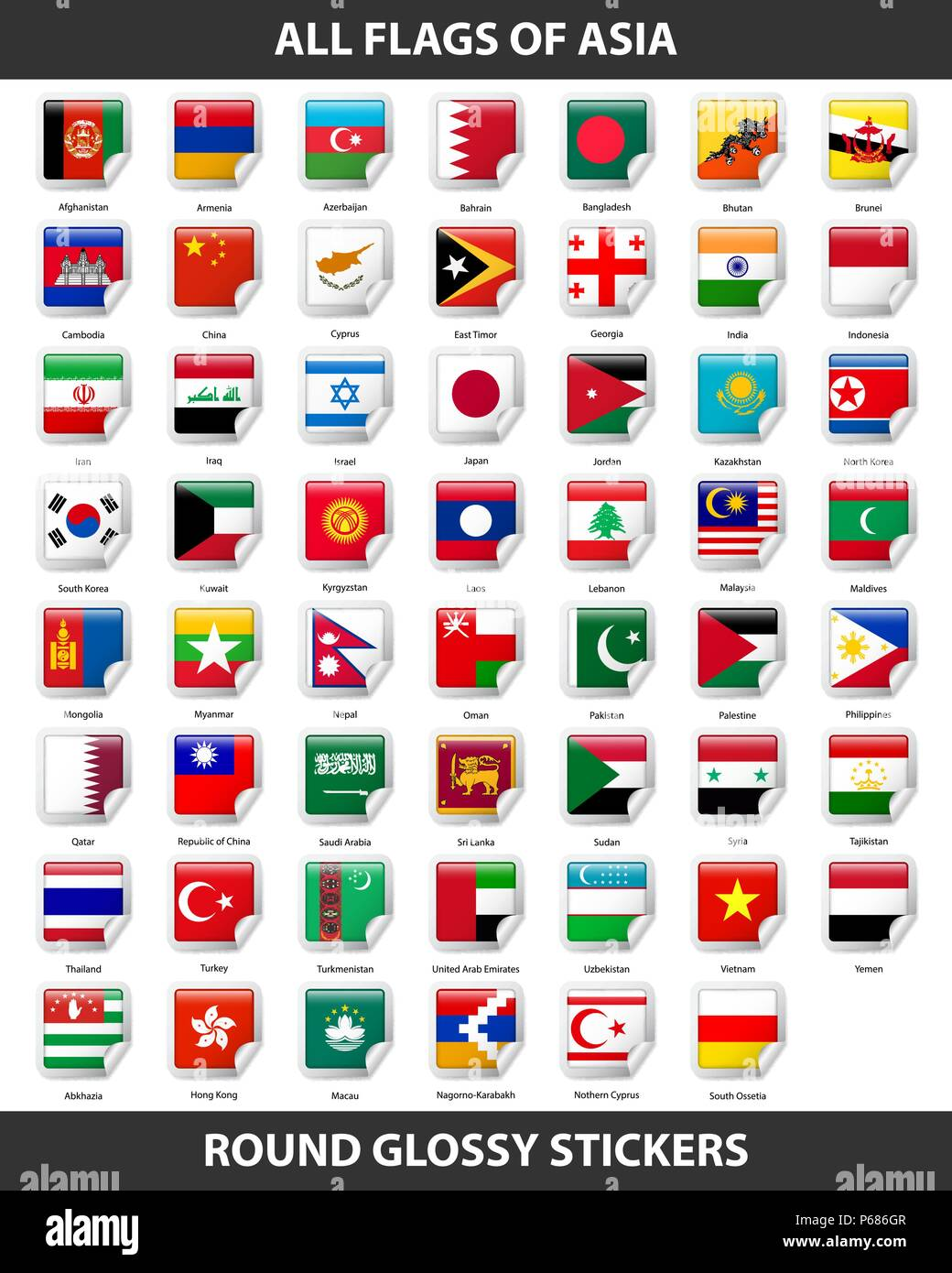 Flags of all countries of Asia. Round Glossy Stickers - Stock Vector