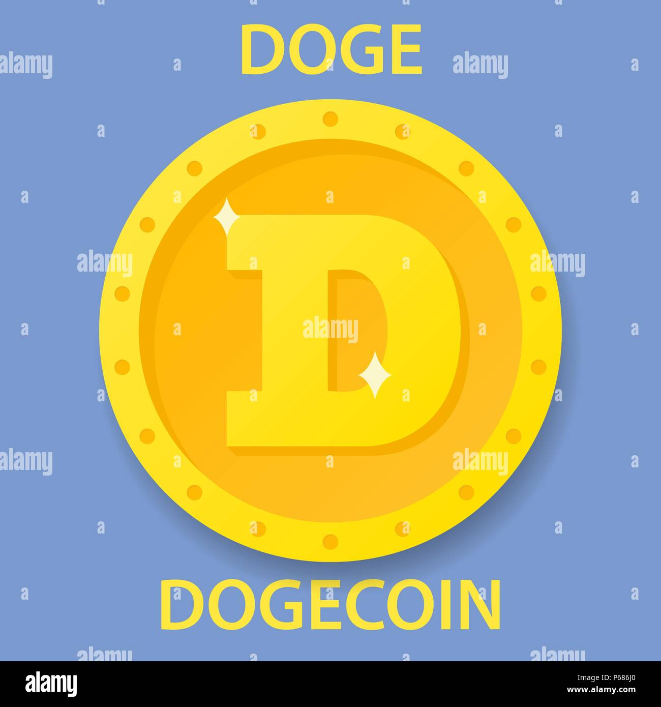 Dogecoin cryptocurrency blockchain icon  Virtual electronic