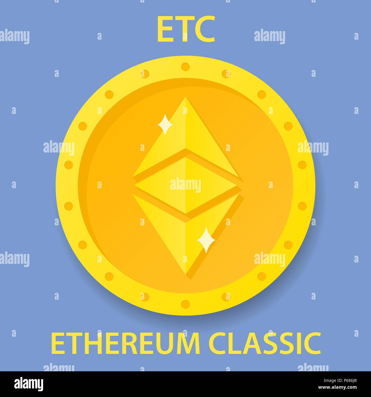 Ethereum Classic Coin Cryptocurrency Blockchain Icon Virtual Electronic Internet Money Or Cryptocoin Symbol Logo