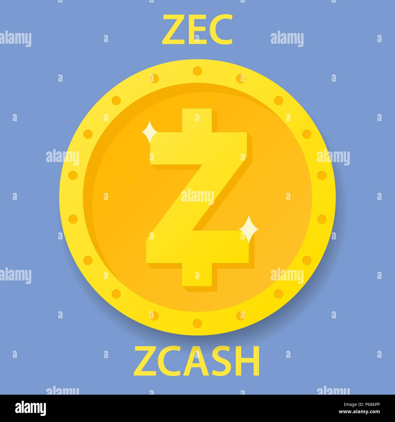 Zcash Coin Cryptocurrency Blockchain Icon Virtual Electronic Internet Money Or Cryptocoin Symbol Logo