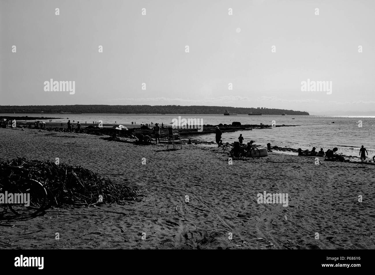 Third Beach at Stanley Park in Vancouver, British Columbiab black and white photograph of the well known landmark. - Stock Image