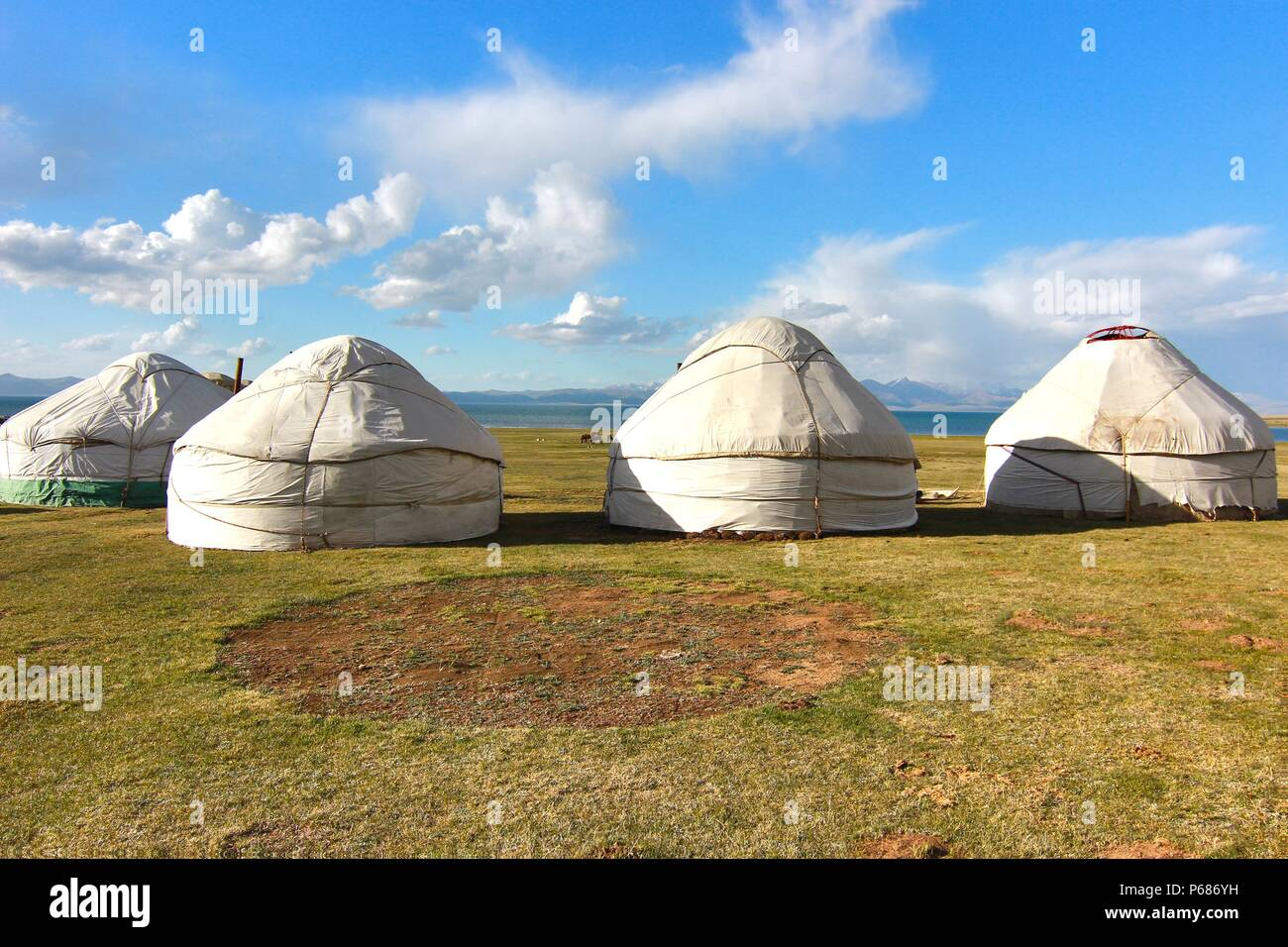 The ger camp in a large meadow at Ulaanbaatar , Mongolia - Stock Image