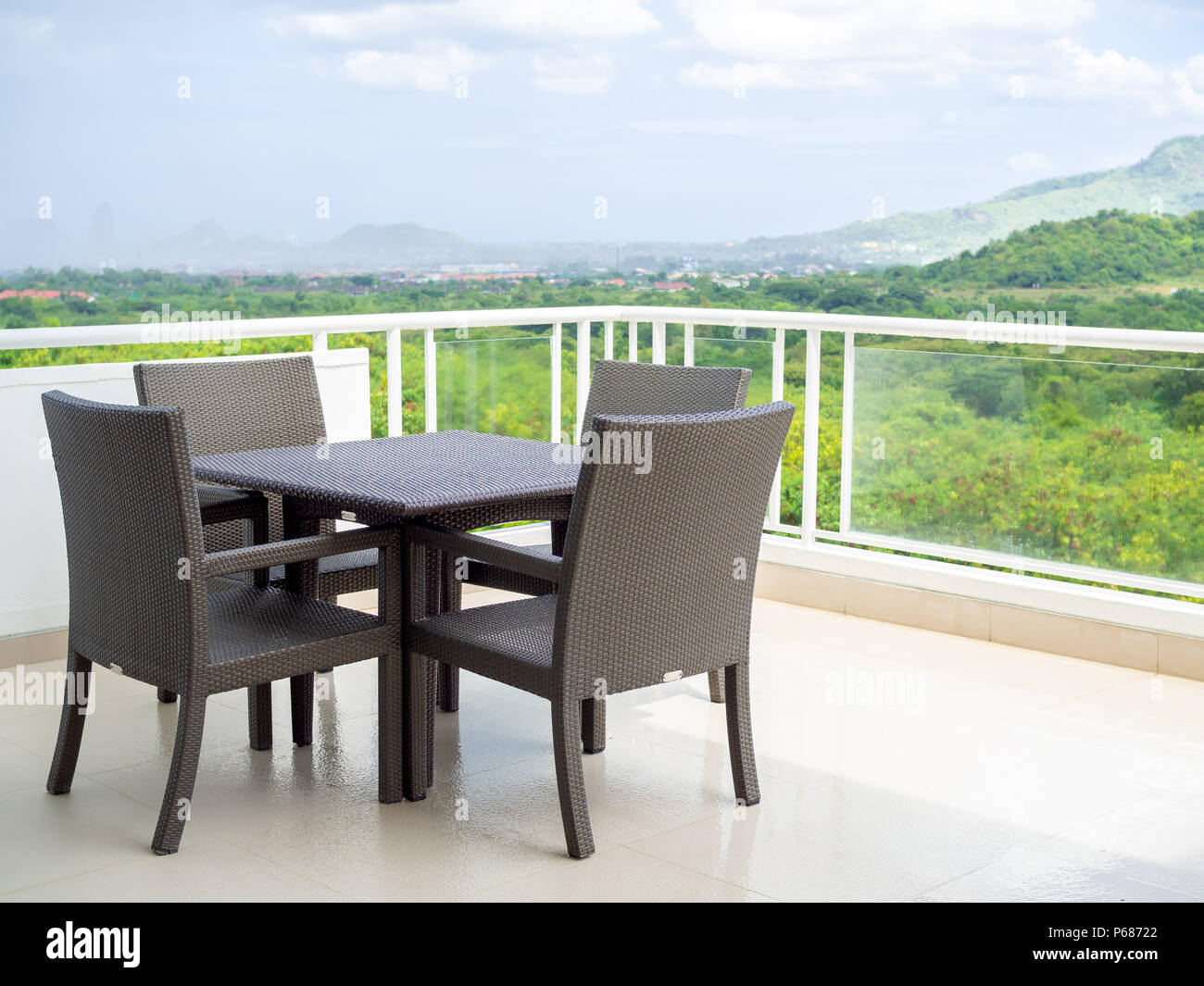 Modern Weave Wicker Dining Table Set In The Terrace With Mountain