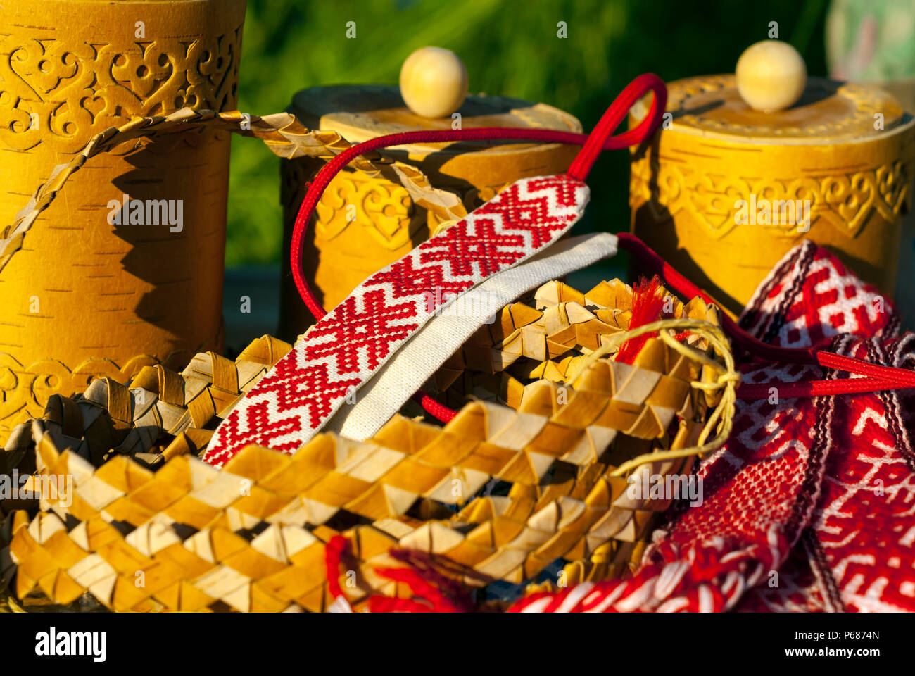items of traditional Slavic folk crafts on the fair close-up - Stock Image