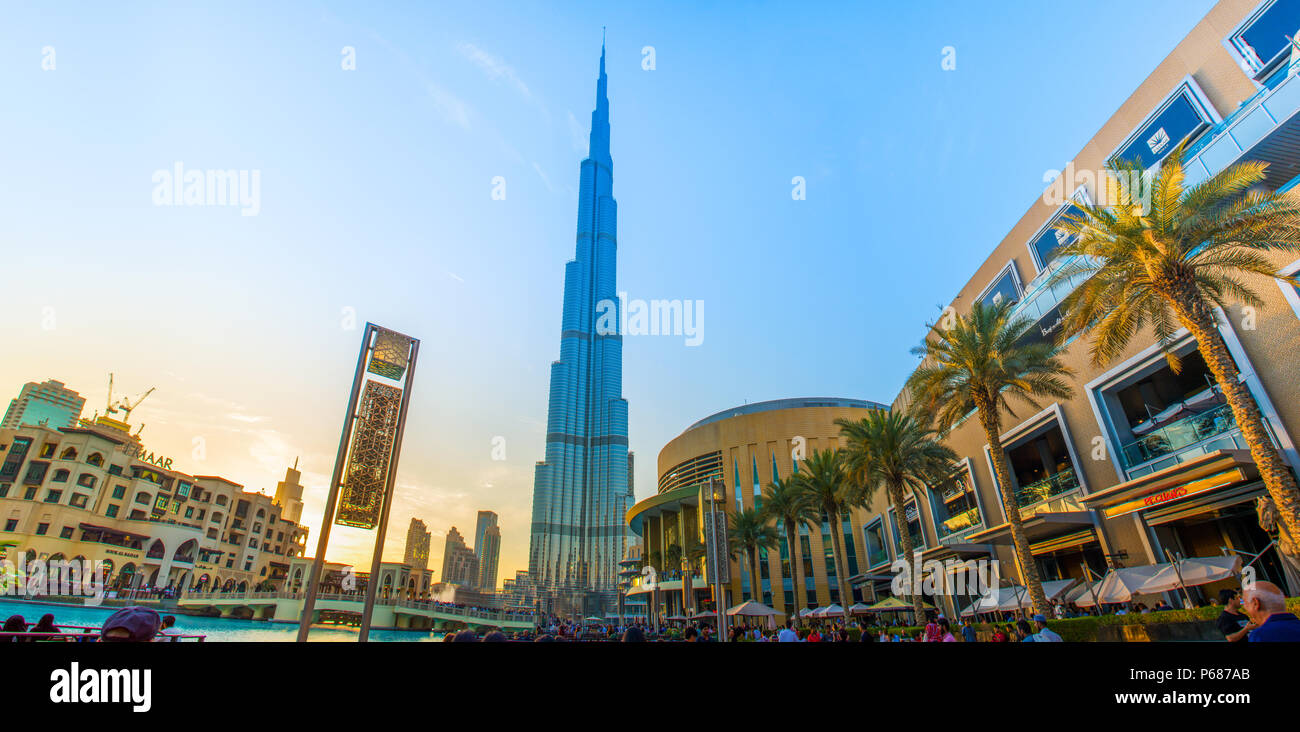 Evening Shot from World Largest Building Burj Khalifa Dubai mall Down Town, Water Fountain Stock Photo