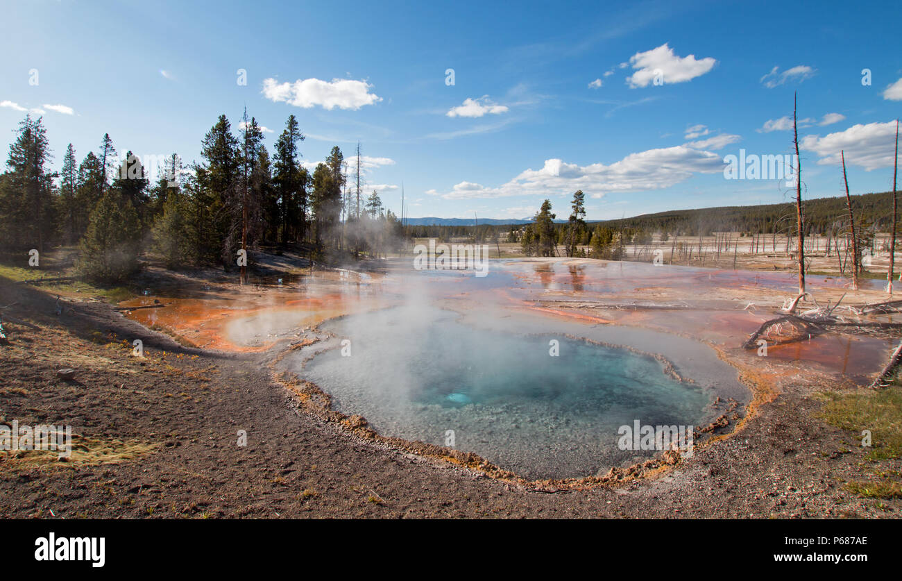 Firehole Spring on Firehole Lake Drive in Yellowstone National Park in Wyoming United States - Stock Image