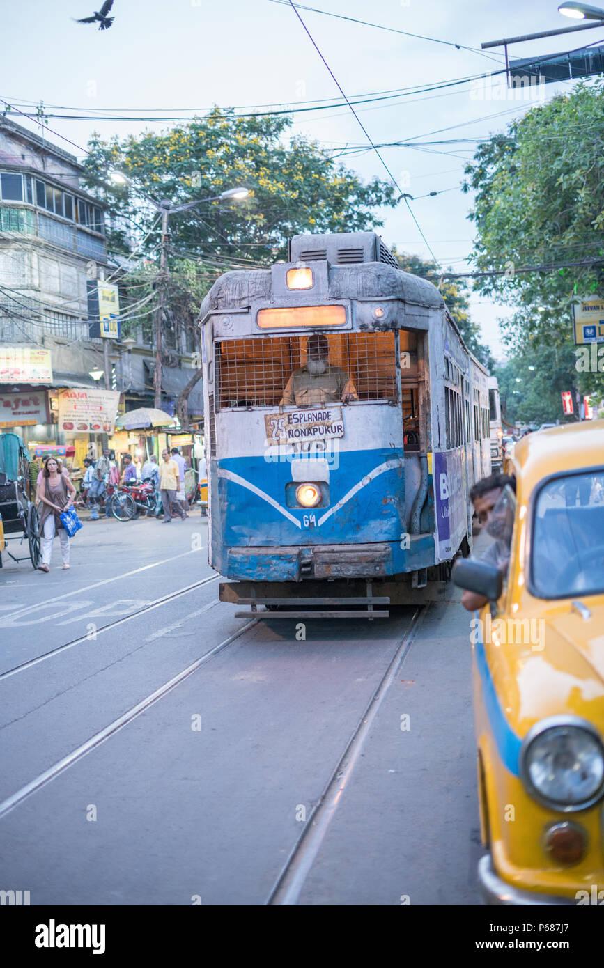 Inside a city tram – Kolkata, India - Stock Image