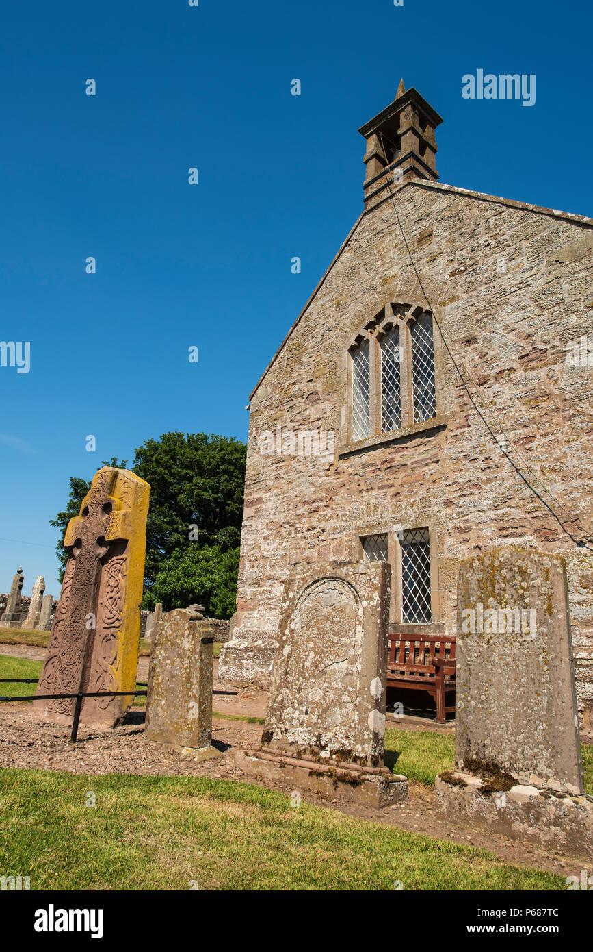 The 8th century Pictish Cross Slab at Aberlemno Church, Angus, Scotland. Stock Photo