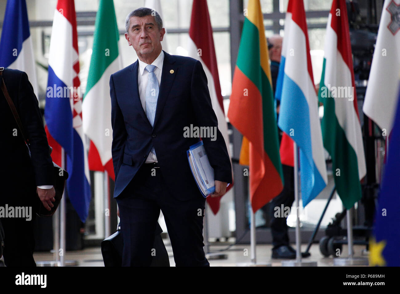 Brussels, Belgium on Jun. 28, 2018. Prime Minister of Czech, Andrej Babis arrives for a meeting with European Union leaders. - Stock Image
