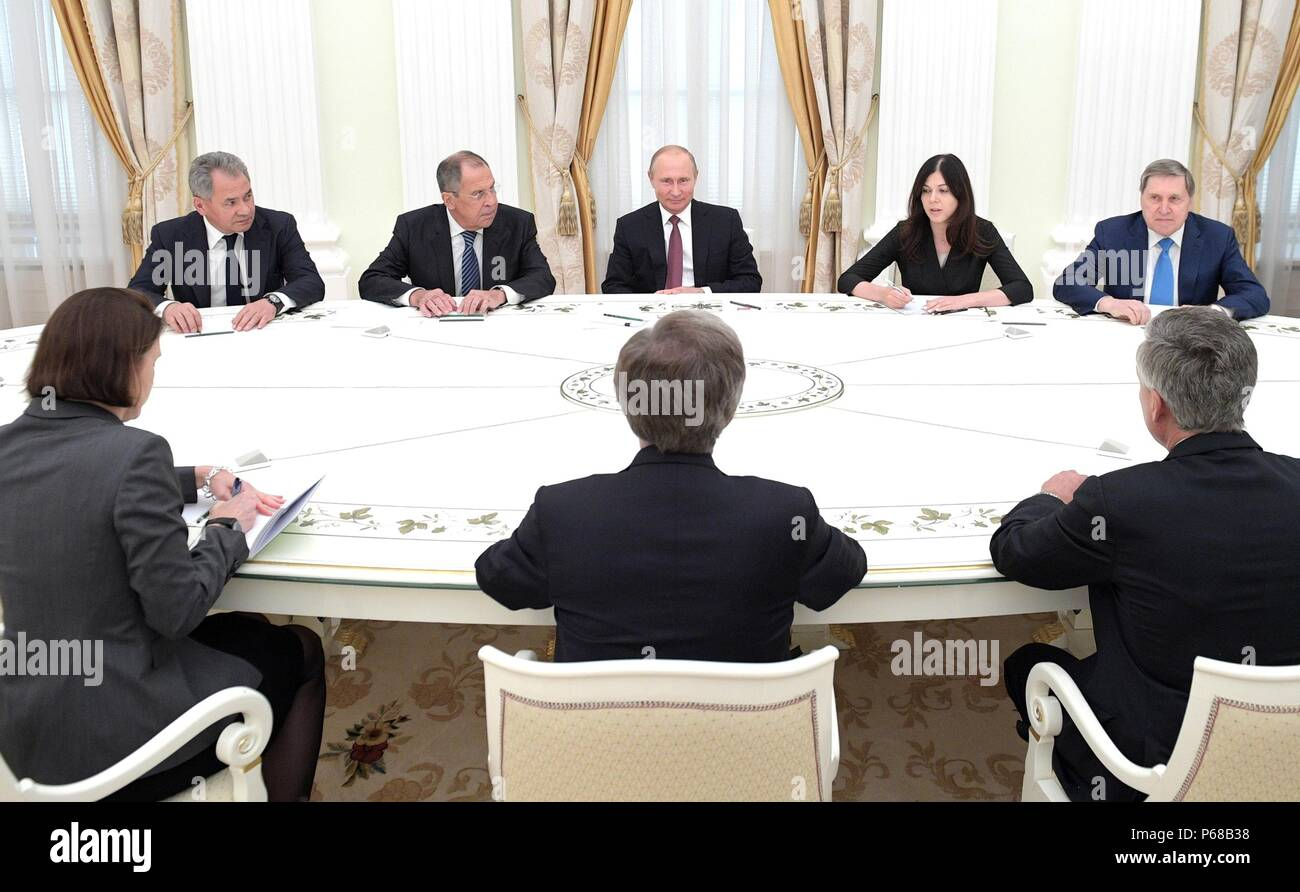 Moscow, Russia. 27th June, 2018. Russian President Vladimir Putin meets with U.S. National Security Advisor John Bolton in the Kremlin June 27, 2018 in Moscow, Russia. Credit: Planetpix/Alamy Live News Stock Photo