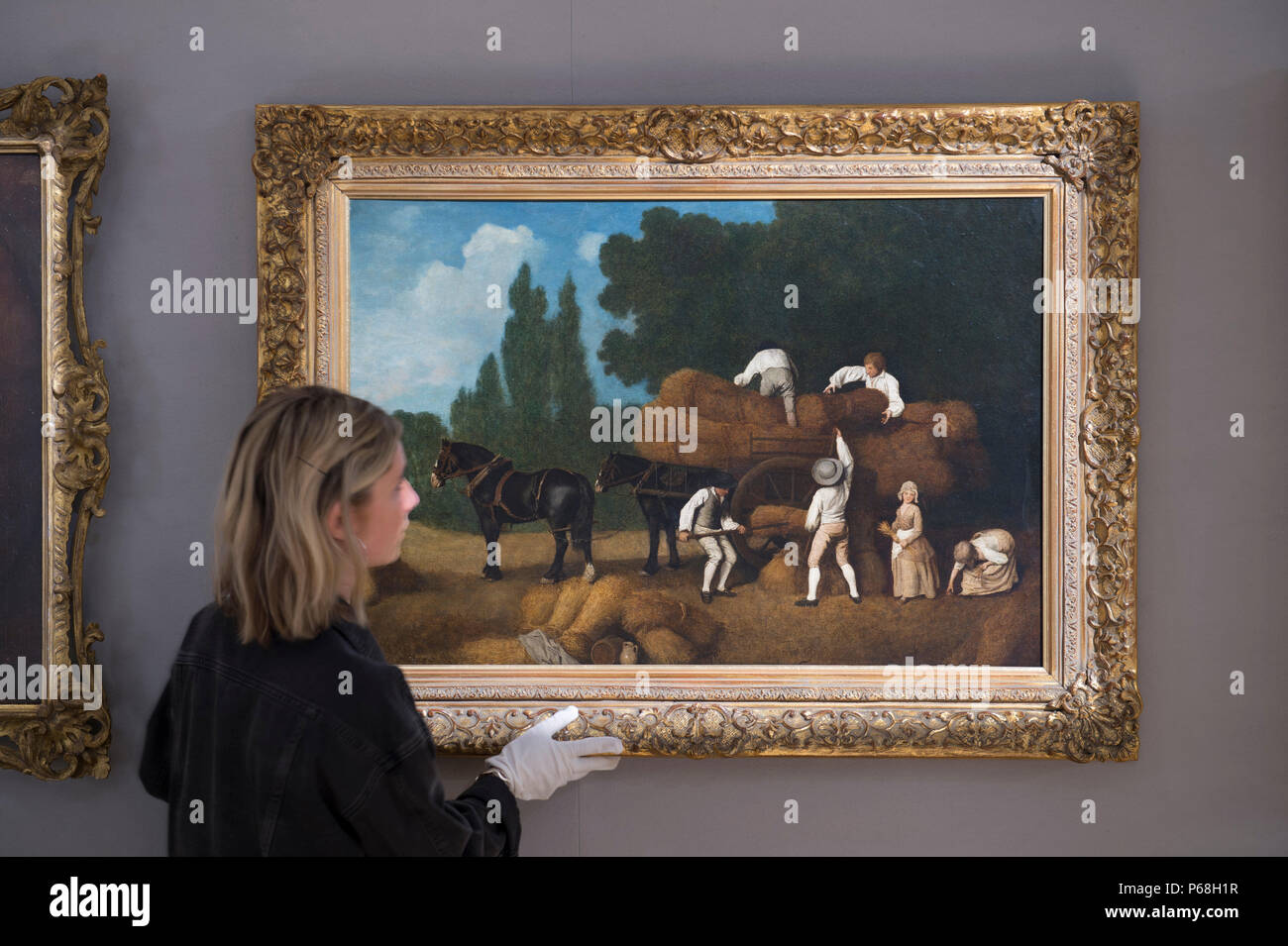 Bonhams New Bond Street, London, UK. 29 June, 2018. Harvesting, by George Stubbs (1724-1806) and estimated at £350,000-450,000 in the Old Masters sale preview. Painted in the early 1780s, the work encapsulates Stubbs lyrical realism. The sale takes place on Wednesday 4 July 2018 at 2pm. Credit: Malcolm Park/Alamy Live News. Stock Photo