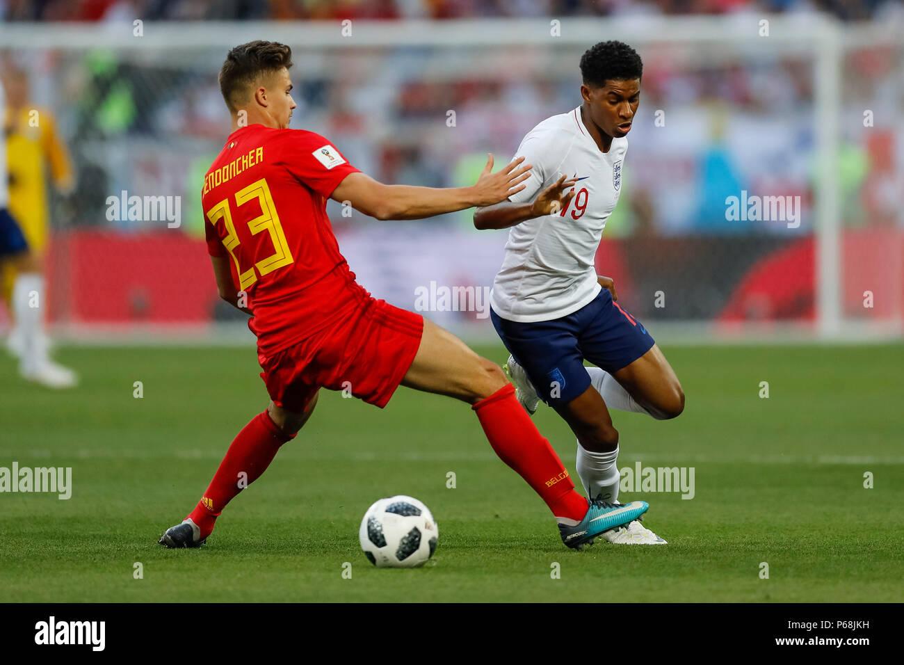 Kaliningrad Russia 28th June 2018 Leander Dendoncker Of Belgium And Marcus Rashford Of England During The