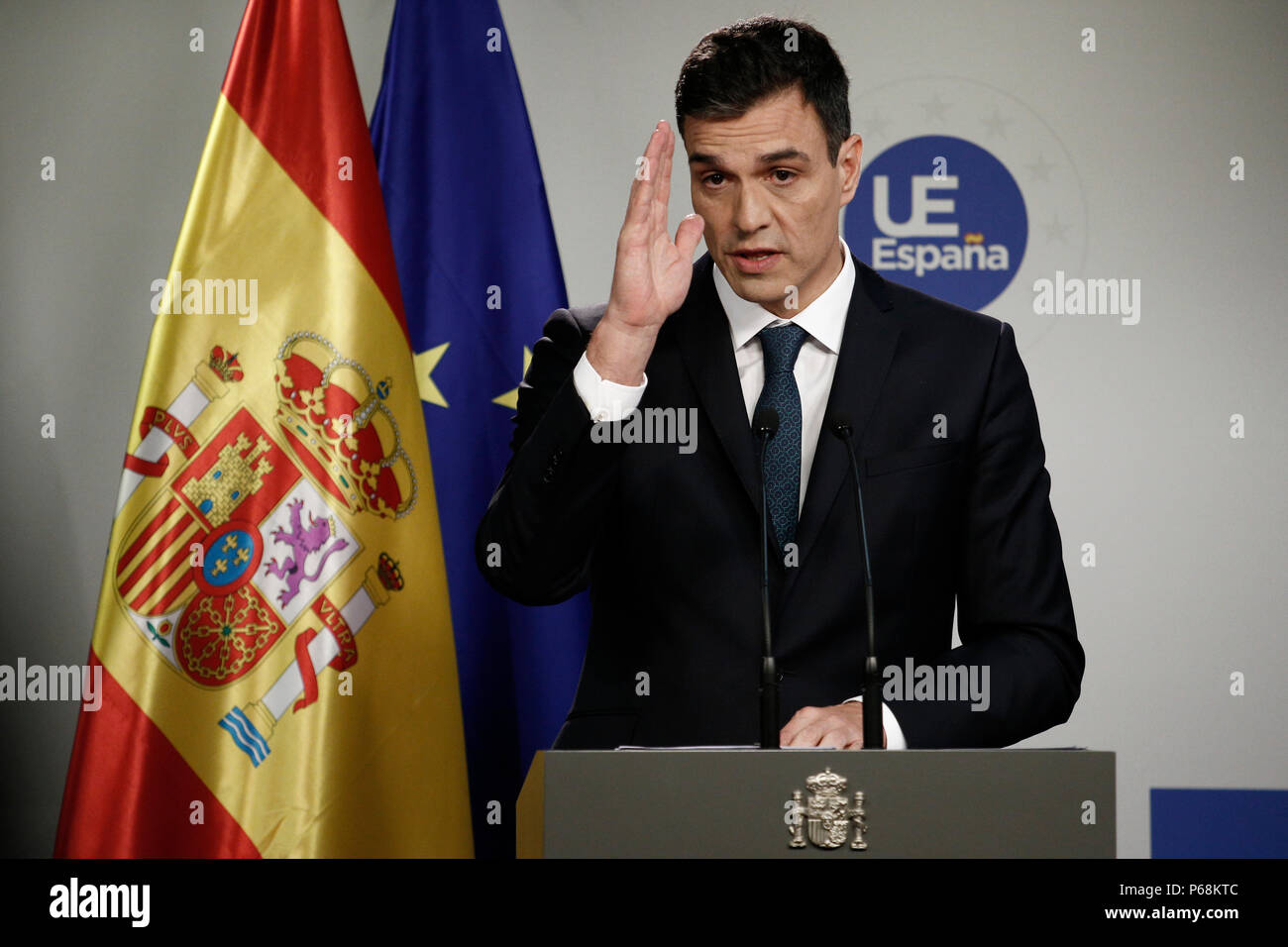 Spanish Prime Minister Pedro Sanchez holds a news conference after