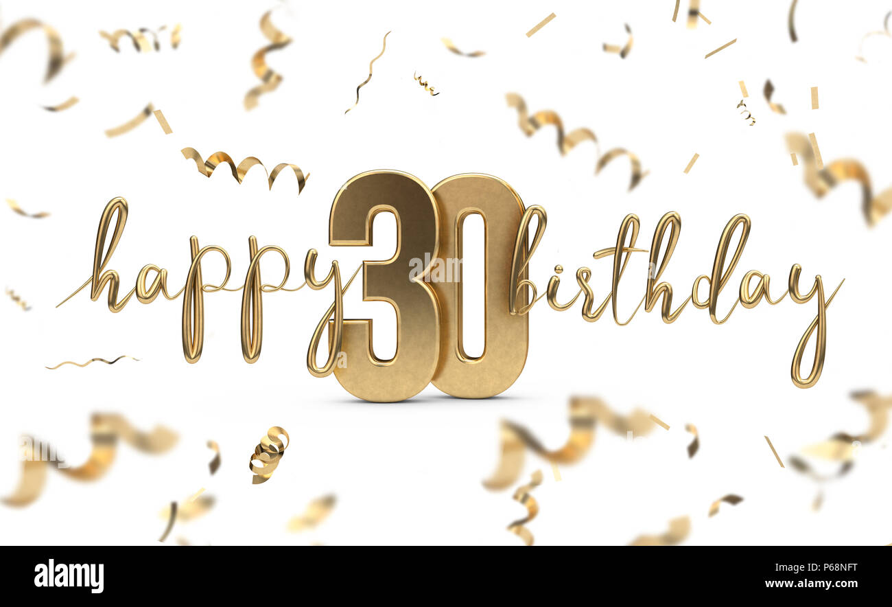 Happy 30th birthday gold greeting background 3d rendering stock happy 30th birthday gold greeting background 3d rendering m4hsunfo